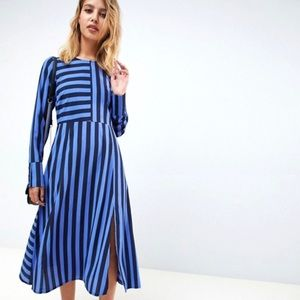 🧿 ASOS Design blue black stripe midi dress - 4